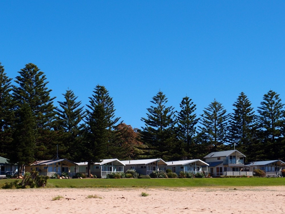Kendalls Beach view to caravan park from the water