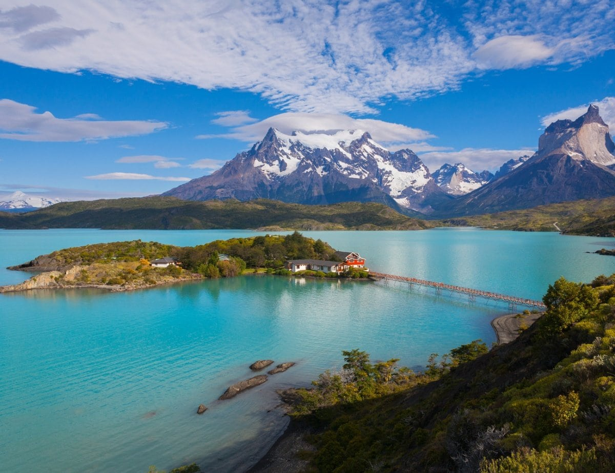 Turquoise lake in Guanaco in Torres del Paine National Park