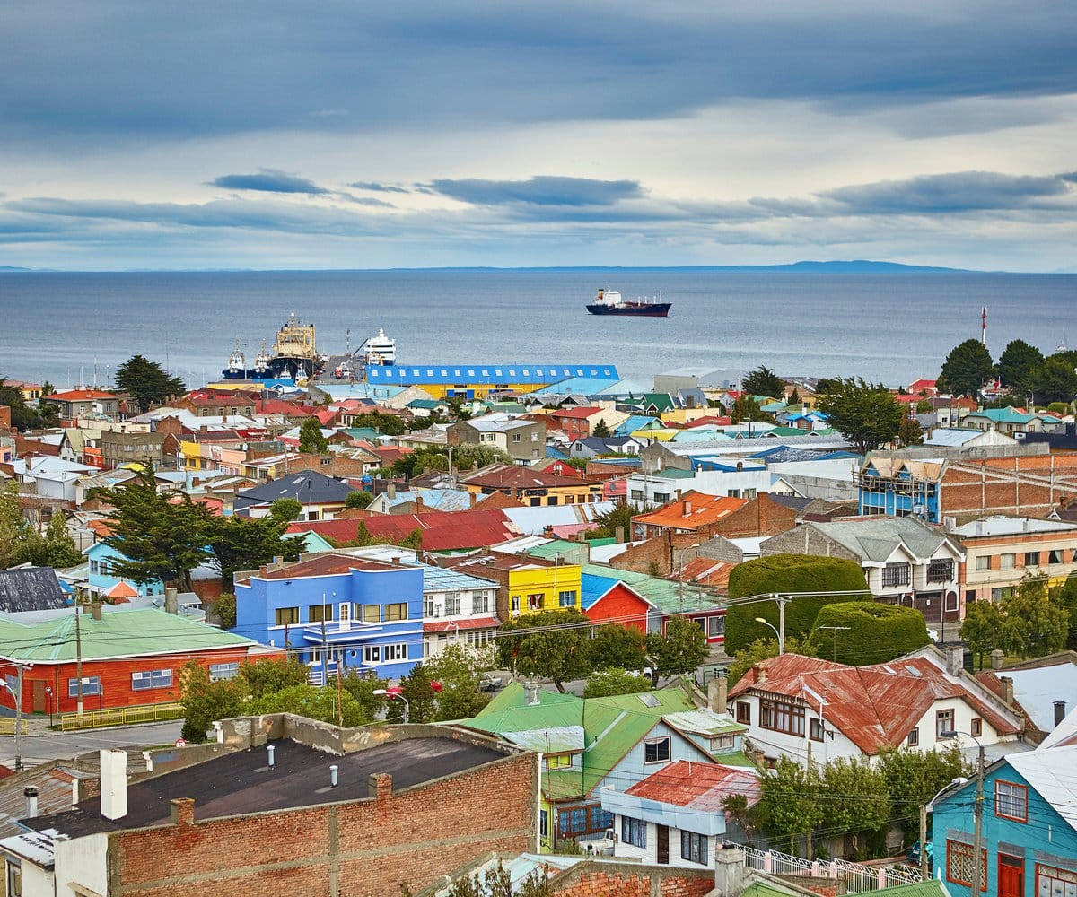 Scenic view of Punta Arenas with Magellan Strait in Patagonia, Chile
