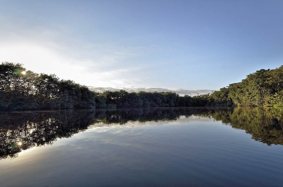 Rio Dulce lake with green trees on the side